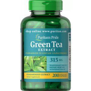 Зеленый чай, Green Tea, Puritan's Pride, стандартизированный экстракт, 315 мг, 200 капсул