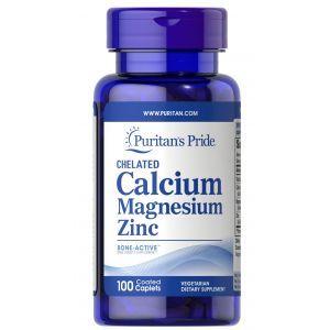 Кальций магний цинк , Chelated Calcium Magnesium Zinс, Puritan's Pride, 100 капсул