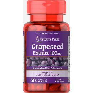 Экстракт виноградных косточек, Grapeseed Extract, Puritan's Pride, 100 мг, 50 капсул