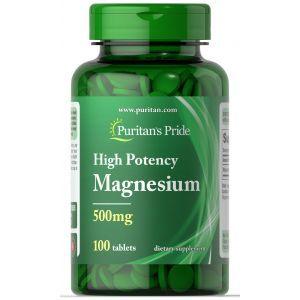 Магний, Magnesium, Puritan's Pride, 500 мг, 100 таблеток