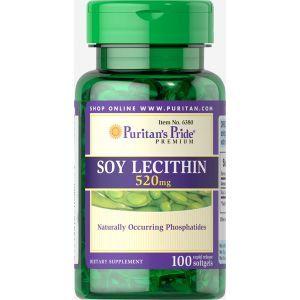 Лецитин из сои, Soy Lecithin, Puritan's Pride, 520 мг, 100 гелиевых капсул