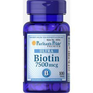 Биотин, Biotin 7500, Puritan's Pride, 7500 мкг, 100 таблеток