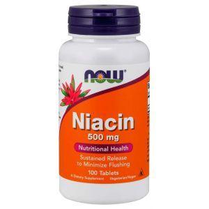 Ниацин (витамин В3), Niacin, Now Foods, 500 мг, 100 таблеток
