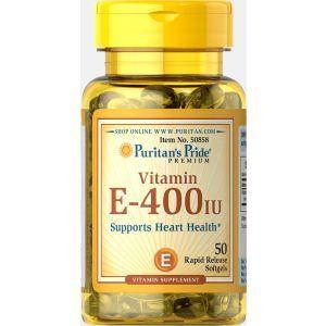 Витамин Е, Vitamin E, Puritan's Pride, 400 МЕ, 50 гелевых капсул