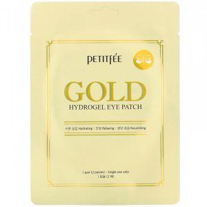Гидрогелевые патчи для глаз с золотым комплексом +5, Gold Hydrogel Eye Patch, Petitfee, 1 пара