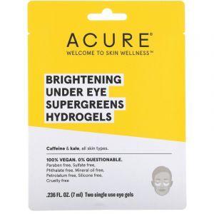 Гидрогелевые патчи для глаз, Eye Hydrogels, Acure Organics, осветляющие, 2 одноразовых геля, 7 мл (Default)