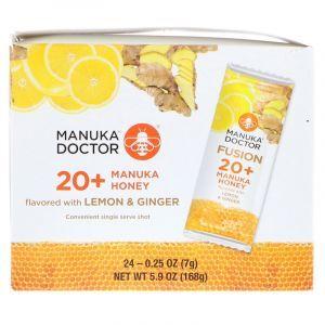 Мед Манука 20+ с лимоном и имбирем, Manuka Honey, Manuka Doctor, 24 пакетика по 7 г (Default)