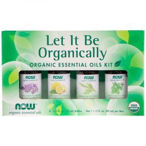 Эфирные масла, Essential Oils Kit, Now Foods, Let It Be Organically, органические, 4 шт. по 10 мл