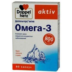 Омега-3, Доппельгерц Актив, 300 мг, 80 капсул
