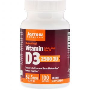 Витамин Д3, Vitamin D3, Jarrow Formulas, 2500 МЕ,100 капсул (Default)