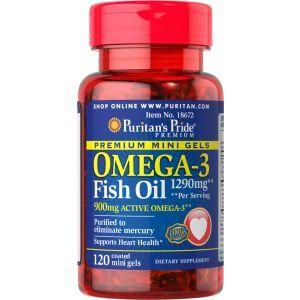 Омега-3 рыбий жир, Omega-3 Fish Oil, Puritan's Pride, 1290 мг, 450 мг активного, 120 капсул