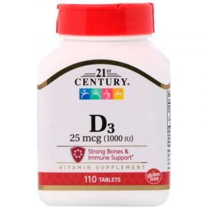Витамин Д3, Vitamin D3, 21st Century, 1000 МЕ, 110 таблеток (Default)