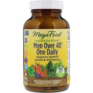 Витамины для мужчин, Men Over 40 One Daily, Mega Food, без железа, 40+, 1 в день, 90 таблеток (Default)