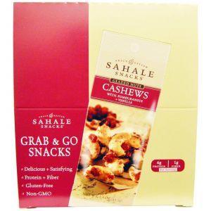 Орехи кешью в глазури с гранатом и ванилью, Glazed Nuts, Sahale Snacks, 9 пак. по 42,5 г