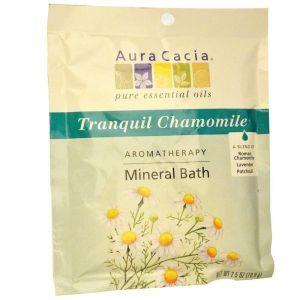 Соль для ванны, Tranquil Chamomile, Aura Cacia, успокаивающая ромашка, 70,9 г