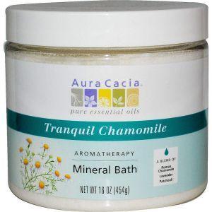 Соль для ванны с эфирными маслами, Mineral Bath, Aura Cacia, успокаивающая ромашка, 454 г