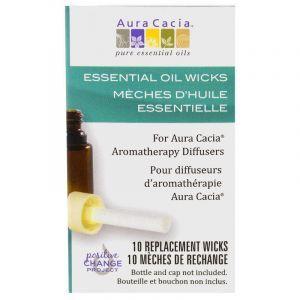 Фитиль для диффузора аромотерапевтического, Essential Oil Wicks, Aura Cacia, 10 сменных фитилей