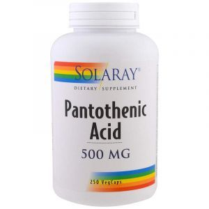 Пантотеновая кислота, Pantothenic Acid, Solaray, 500 мг, 250 вегетарианских капсул