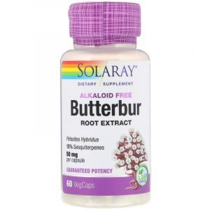 Белокопытник, Butterbur, Solaray, экстракт корня, 50 мг, 60 капсул (Default)