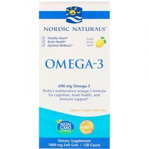 Очищенный рыбий жир, Omega-3, Nordic Naturals, лимон, 690 мг, 120 капсул (Default)