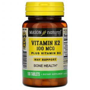 Витамин К2, Д3, Vitamins K2 Plus D3, Mason Natural, 100 мкг/1000 МЕ, 100 таблеток