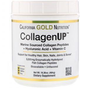 Коллаген пептиды UP 5000, Collagen Peptides, California Gold Nutrition, морской с гиалуроновой кислотой и витамином С, 5000 мг, 464 г (Default)
