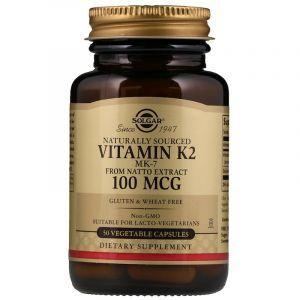 Витамин К2 (Vitamin K2), Solgar, 100 мкг, 50 капсул (Default)