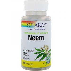 Ним, Organically Grown Neem, Solaray, 100 вегетарианских капсул