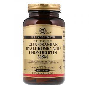 Глюкозамин, Гиалуроновая, Хондроитин, МСМ, Glucosamine Hyaluronic Acid Chondroitin MSM, Solgar, 120 таблеток (Default)