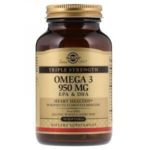 Рыбий жир, Омега - 3 (Omega-3, EPA DHA), Solgar, 950 мг, 50 капсул (Default)
