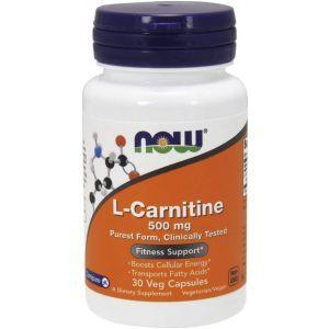 Карнитин тартрат, L-Carnitine, Now Foods, 500 мг, 30 капсул