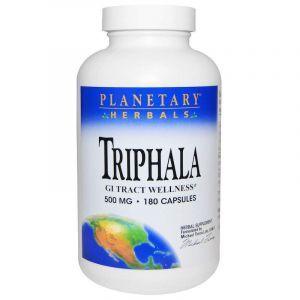 Трифала, Triphala, Planetary Herbals, 500 мг, 180 капсул