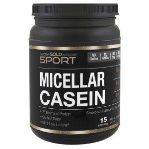 Мицеллярный казеин, Micellar Casein Protein, California Gold Nutrition, без добавок, медленное усвоение, 454 г
