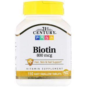 Биотин, Biotin, 21st Century, 800 мкг, 110 таблеток