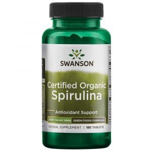 Органическая спирулина, Certified Organic Spirulina, Swanson, 500 мг, 180 таблеток