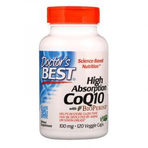 Коэнзим Q10, CoQ10 with BioPerine, Doctor's Best, биоперин, 100 мг, 120 капсул (Default)