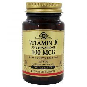 Витамин К, Solgar, 100 мкг, 250 таблет