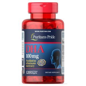 DHA, DHA 100 mg, Puritan's Pride, 100 мг, 120 гелевых капсул
