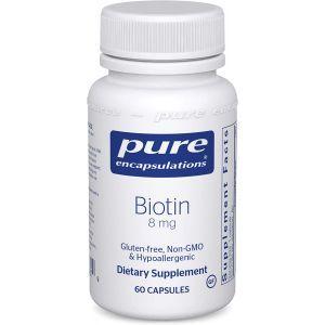 Биотин, Biotin, Pure Encapsulations, 8 мг, 60 капсул