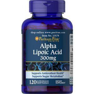 Альфа-липоевая кислота, Alpha Lipoic Acid, Puritan's Pride, 300 мг, 120 гелевых капсул