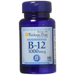 Витамин В-12, Vitamin B-12, Puritan's Pride, 1000 мкг, 100 капсул
