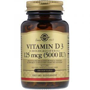 Витамин Д3, Vitamin D3, Solgar, 5000 МЕ, 100 капсул (Default)