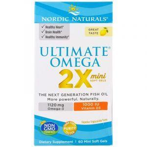Рыбий жир, Ultimate Omega 2X, Nordic Naturals, лимон, 1120 мг, 60 гелевых мини капсул
