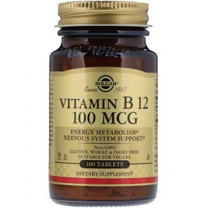 Витамин В12, Vitamin B12, Solgar, 100 мкг, 100 таблеток (Default)