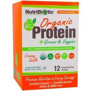 Протеины, зелень и овощи, Protein, NutriBiotic, вкус кремовой ванили, органик, для веганов, 12 пакетиков по 36 г