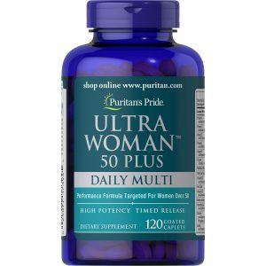 Мультивитамины для женщин 50+, Ultra Woman™ 50 Plus Multi-Vitamin, Puritan's Pride, 120 капсул