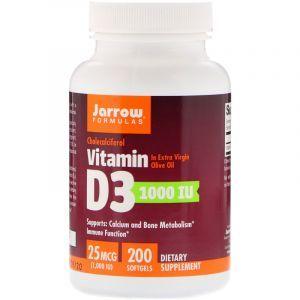 Витамин Д3, холекальциферол, Vitamin D3, Jarrow Formulas, 1000 МЕ, 200 кап. (Default)