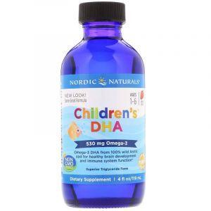 Жидкий рыбий жир для детей от 1 до 6 лет, Children's DHA, Nordic Naturals, клубника, 530 мг, 119 мл