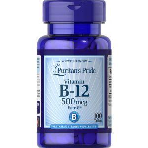 Витамин В-12, Vitamin B-12, Puritan's Pride, 500 мг, 100 таблеток