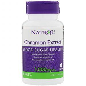 Корица, Cinnamon, Natrol, экстракт, 1000 мг, 80 табл